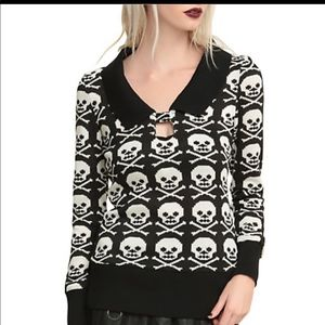Jawbreaker Black and White All Over Skulls Sweater